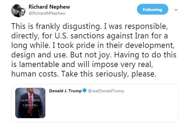 توئیت ترامپ که معمار تحریمهای ایران هم آن را «زننده» توصیف کرد+عکس - 6