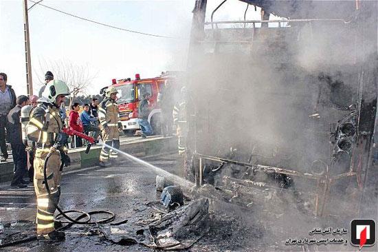 آتشسوزی اتوبوس بین شهری در جنوب تهران - 2