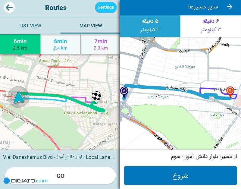 نشان در برابر ویز؛ مقایسهای میان مسیریاب ایرانی و خارجی - 31