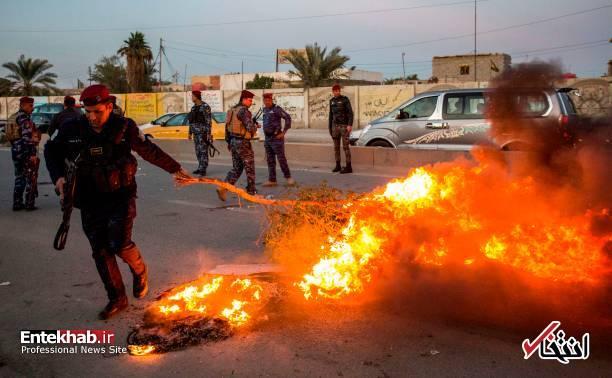 تصاویر: مسدود کردن خیابانهای بصره با آتش زدن لاستیک - 14