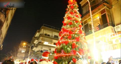 ویدئو / روشن شدن چراغ بزرگترین درخت کریسمس در دمشق - 1