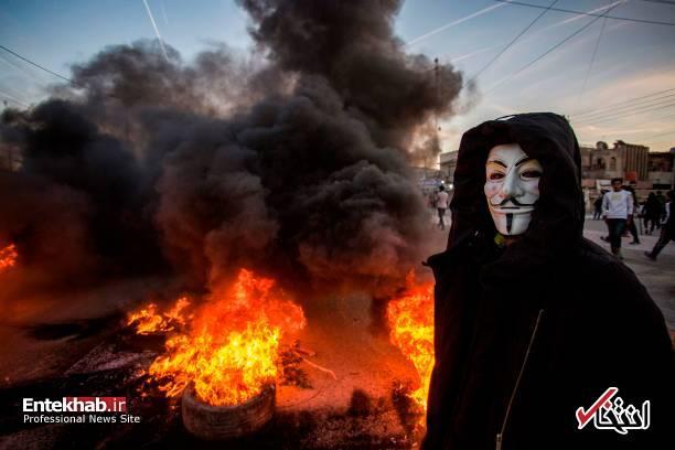 تصاویر: مسدود کردن خیابانهای بصره با آتش زدن لاستیک - 7