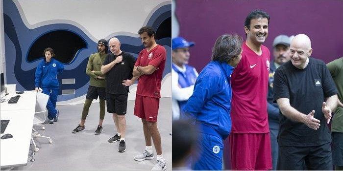 اینفانتیو با لباس عجیب امیرقطر فوتبال بازی کرد +عکس - 6