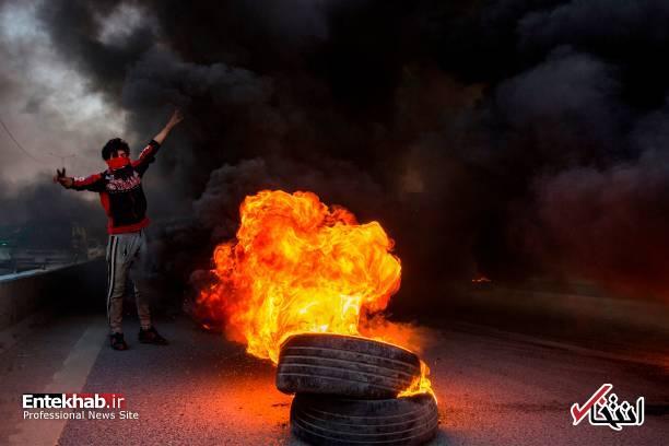 تصاویر: مسدود کردن خیابانهای بصره با آتش زدن لاستیک - 11