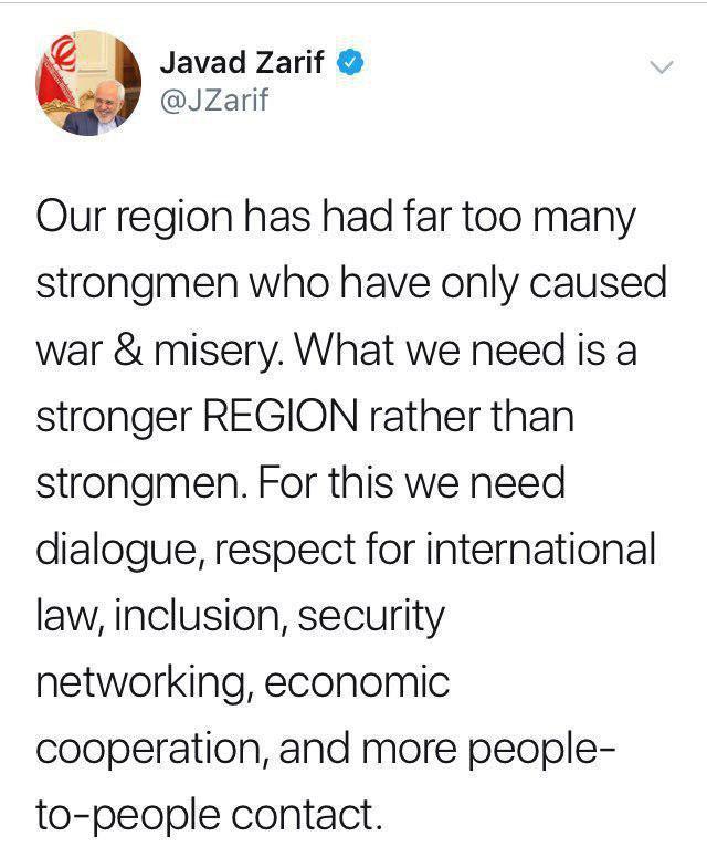 ظریف: منطقه ما زورگویان قلدر زیادی به خود دیده که جز جنگ و بدبختی به بار نیاوردند - 3