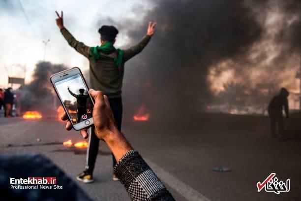 تصاویر: مسدود کردن خیابانهای بصره با آتش زدن لاستیک - 4