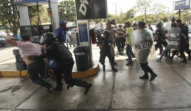 خشونت پلیس در تظاهرات نیکاراگوئه و بازداشت دهها تن