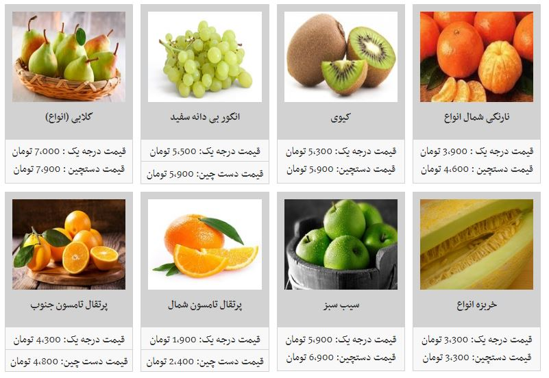 قیمت انواع میوه در غرفه تره بار - 1