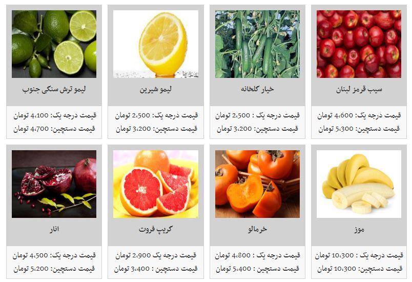 قیمت انواع میوه در غرفه تره بار - 4