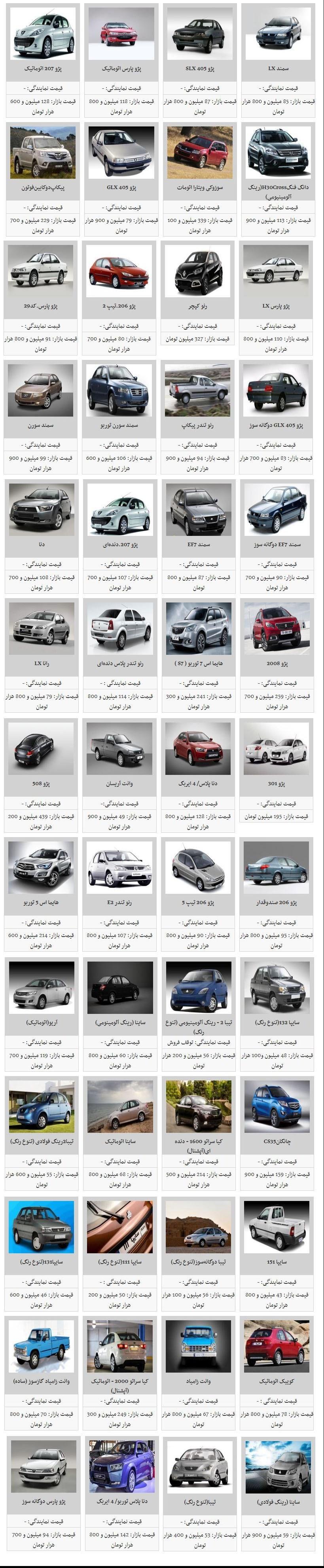 آخرین قیمت روز خودروهای داخلی - 3