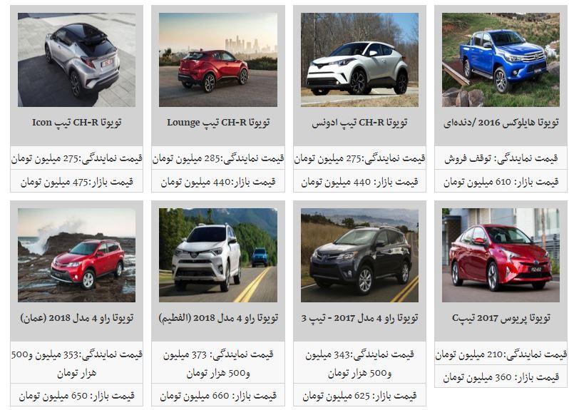 قیمت انواع خودروهای تویوتا در بازار+جدول - 1