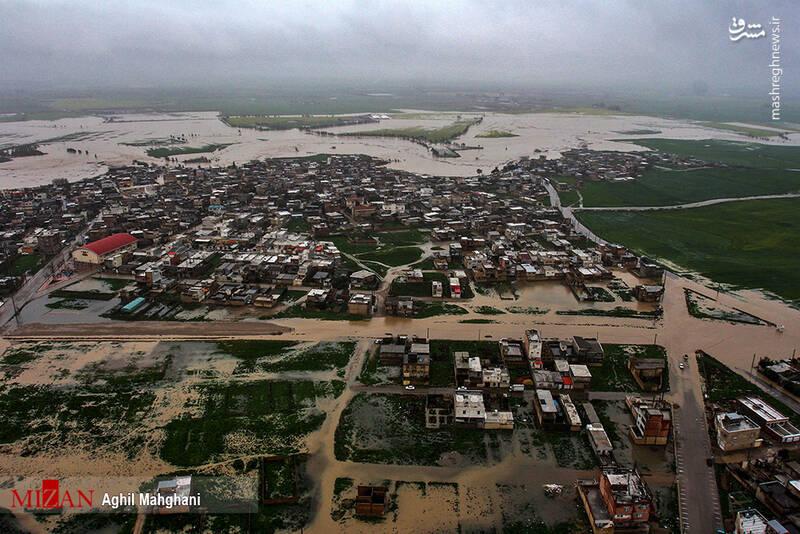 تصاویر هوایی سیل و آبگرفتگی در گنبد کاووس - 28
