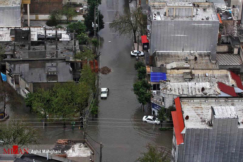 تصاویر هوایی سیل و آبگرفتگی در گنبد کاووس - 24
