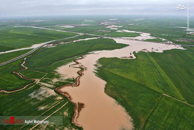 تصاویر هوایی سیل و آبگرفتگی در گنبد کاووس - 21
