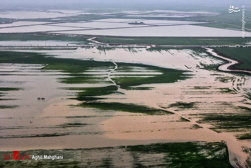تصاویر هوایی سیل و آبگرفتگی در گنبد کاووس - 5