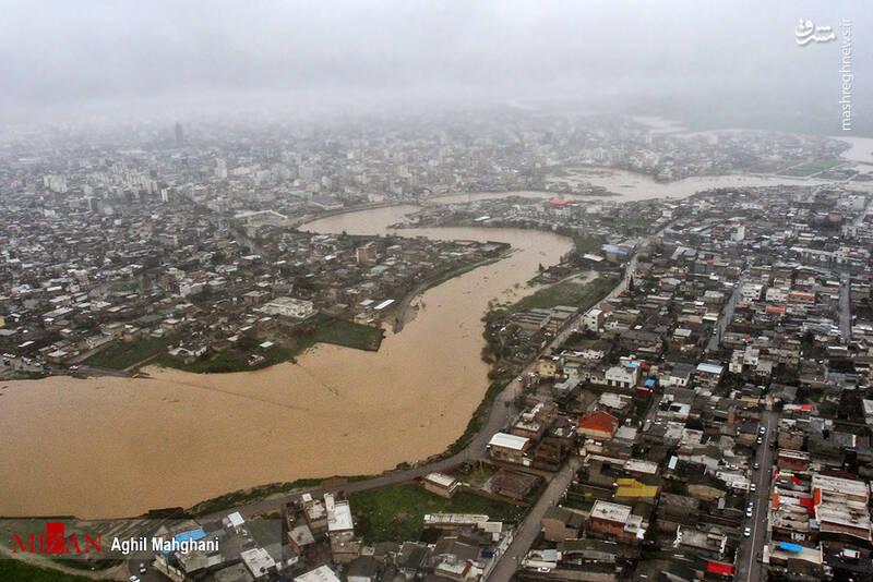 تصاویر هوایی سیل و آبگرفتگی در گنبد کاووس - 31
