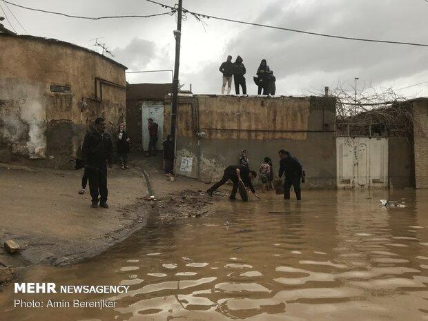 خسارات سیل در محله سعدی شیراز - 1