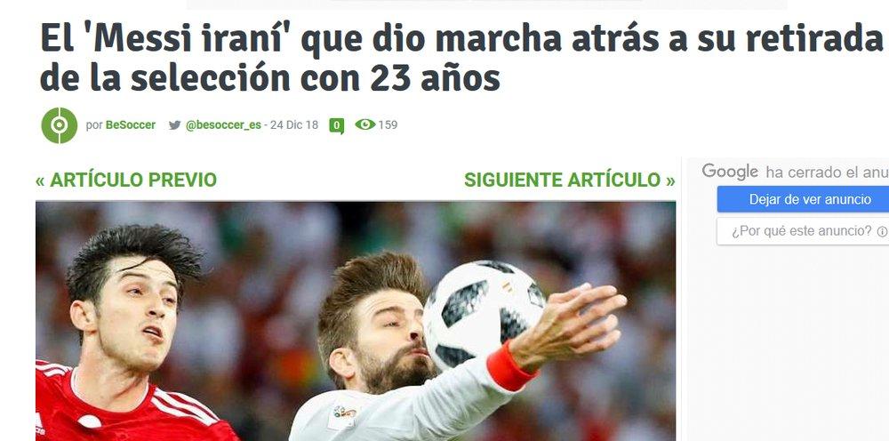 گزارش سایت اسپانیایی از بازگشت سردار آزمون به تیم ملی فوتبال - 3