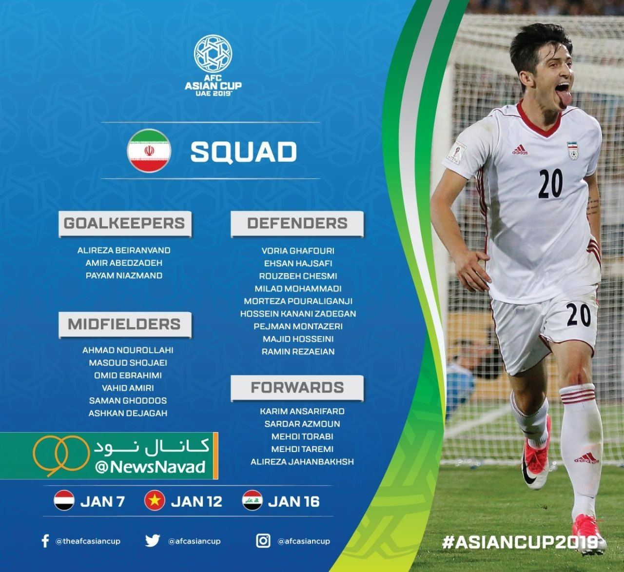 اسامی بازیکنان تیم ملی ایران در جام ملتهای آسیا ۲۰۱۹ +عکس - 2